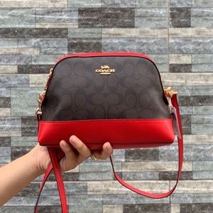 Coach Signature Dome Crossbody Bag Red Brown